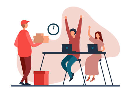 Flat vector illustration of cartoon employees at table with laptops greeting happily delivery man bringing food at lunch time into office