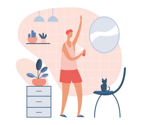 Young man standing against mirror and spraying armpits with deodorant in morning time in bathroom with domestic cat. Everyday personal care, hygienic procedure. Flat cartoon vector illustration
