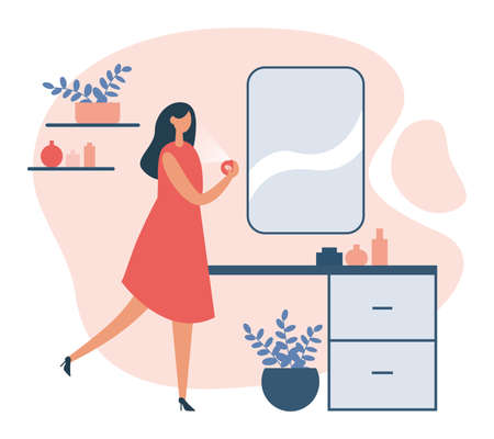 Illustration of woman in dress applying fresh scent standing at table with mirror in room on white background. Everyday personal care, hygienic procedure. Flat cartoon vector illustration