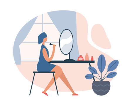 Illustration of woman sitting on chair in front mirror and doing makeup using brush while spending time at home. Everyday personal care, hygienic procedure. Flat cartoon vector illustration