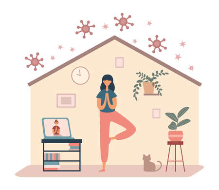 Flat vector style of cartoon female doing yoga asana having online tutorial class with laptop staying home during pandemic of coronavirus