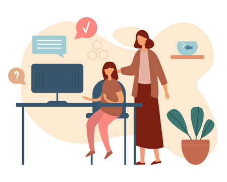 Flat style of image of woman helping daughter with home schooling while using computer at desk studying remotely on white background