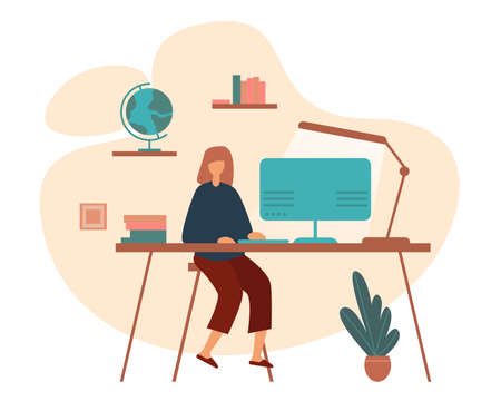 Flat design of smart schoolgirl sitting at table and doing homework while studying remotely at home isolated on white background Ilustrace