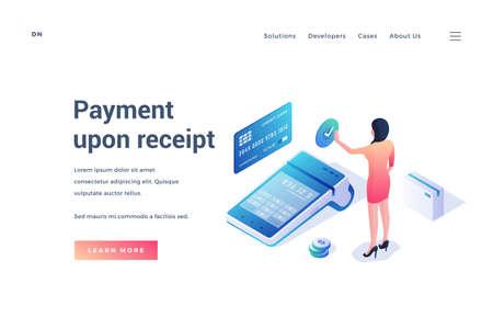 Vector banner advertising payment upon receipt system Illusztráció