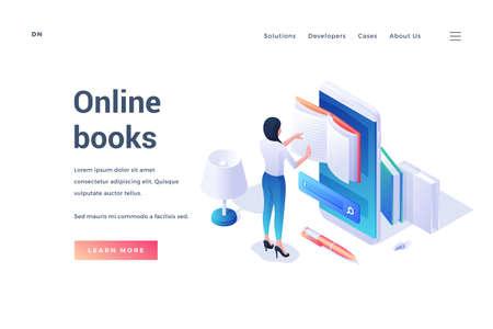 female student reading online book on banner design