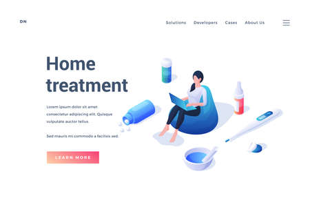 Website template promoting information about home medical treatment Vector Illustratie