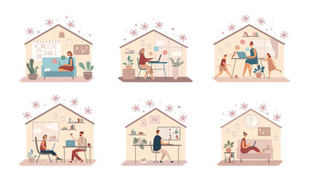 Set of flat illustrations with various people using laptops for remote job while staying at home protected from coronavirus during quarantine