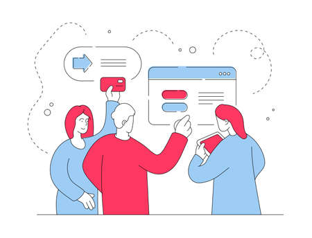 Vector illustration of croup of contemporary friends browsing modern tablet and using credit card to transfer money while shopping online together. Flat style illustration, thin line art design