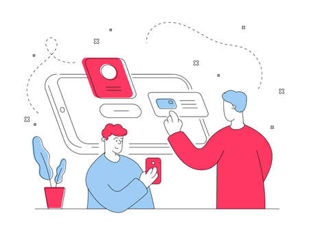 illustration of contemporary red and blue men browsing social media and online shop on modern smartphones while using Internet in everyday life. Flat style illustration, thin line art design