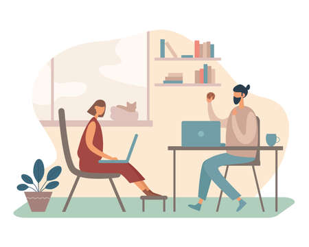 Illustration of contemporary man and woman using laptops to do freelance project while working in cozy room at home together. Cartoon people characters in flat style