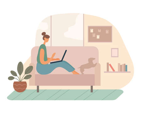 illustration of modern woman sitting on sofa near dog and doing remote project on laptop while working in cozy living room at home.