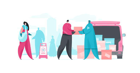 Vector flat illustration of people cartoon characters in medical mask and hazmat suit loading modern van with boxes on city street during coronavirus voluntary campaign