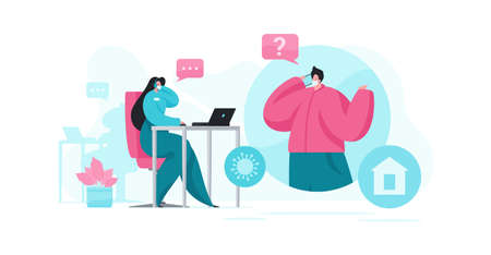 Vector illustration of man in medical mask talking with female support agent of coronavirus helpline while staying at home during pandemic