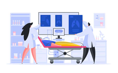 Vector illustration of male and female medical practitioners examining pictures of lungs of elderly patient attached to mechanical ventilation machine