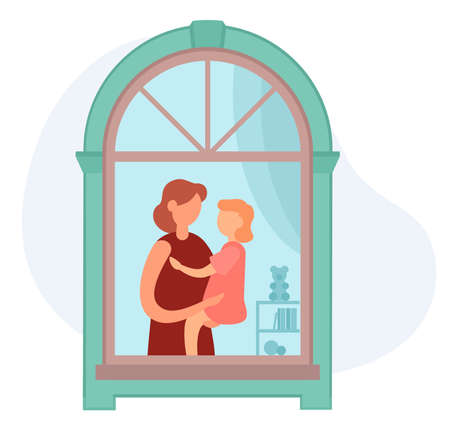 Vector illustration of adult woman hugging and carrying little girl while standing near window and resting in cozy nursery at home. Social isolation during the coronavirus pandemic