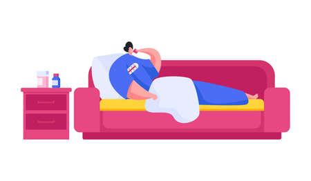 Sick man lying on sofa at home