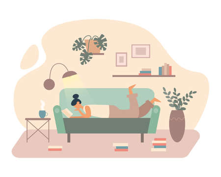 Vector illustration of female lying on sofa in living room and reading book in light of lamp while spending time at home on white background