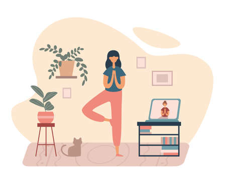 Cartoon woman balancing on one leg while practicing yoga asana having online class via Internet on laptop staying safe at home