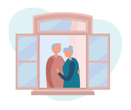 Vector illustration of elderly man with mustache hugging mature woman tenderly while resting near open window in weekend at home. People staying by the window at home in self quarantine