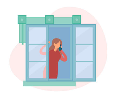 Vector illustration of modern female looking out open window and answering phone call while resting in cozy room at home. People staying by the window at home in self quarantine