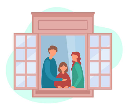 Vector illustration of modern parents and daughter standing near open window and relaxing together in cozy room on weekend at home. People staying by the window at home in self quarantine
