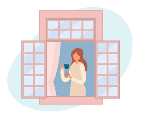 Vector illustration of modern female with cup of hot drink and dessert standing near open window and resting at home. People staying by the window at home in self quarantine