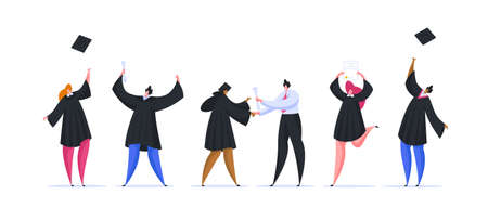 Group of modern diverse young students receiving diplomas and throwing up hats while celebrating graduation from university after long education. Flat cartoon people vector illustration