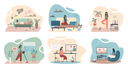 Vector collection of flat illustrations with women doing housework and relaxing while staying sage at home during quarantine isolated on white background Ilustração