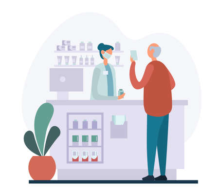 Senior male client reading medical prescription to female pharmacist in mask while visiting modern pharmacy and buying remedy. Vector illustration in flat style. Иллюстрация