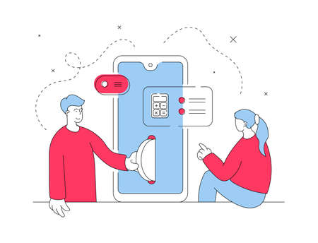 Vector illustration of contemporary red and blue man and woman transferring money and counting finances while using modern smartphone together. Flat style illustration, thin line art design Çizim