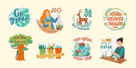 Collection of flat cartoon vector illustrations of colorful stickers on various ecological and environmental issues from saving flora and fauna to zero waste consumption