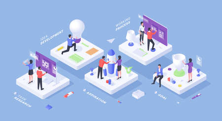 Isometric illustration with cartoon male and female business characters working in team while following goals and achieving new results on blue background