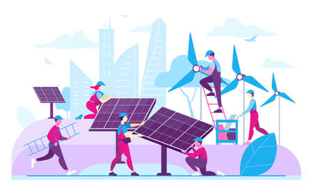 Workers installing ecological energy generators. Flat vector illustration  イラスト・ベクター素材