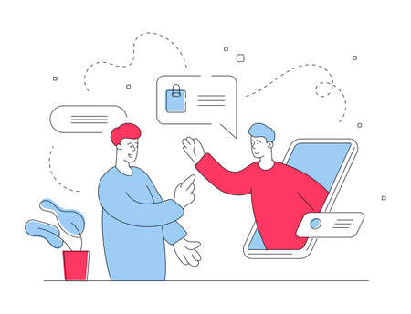 Vector illustration of red and blue modern guy using smartphone to chat with support agent of online store while shopping in Internet. Flat style illustration, thin line art design