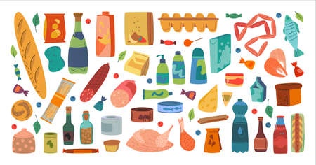 Flat style of vector layout with different products and ingredients of supermarket with food and first necessity supplies on white background Ilustracja