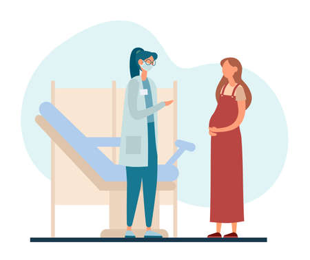 Vector illustration of pregnant woman talking with female obstetrician while standing near gynecological chair during visit in contemporary fertility clinic