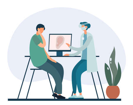 Vector illustration of male patient with severe earache sitting near table with computer and speaking with otolaryngologist during visit in hospital Vector Illustration