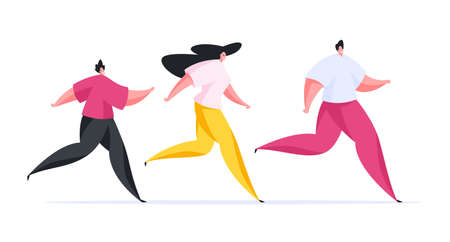 Colorful vector illustration of positive cartoon parents and teen son in modern sportswear smiling and running during fitness training together Illustration