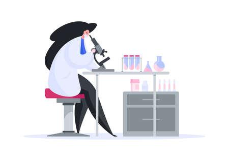 Modern cartoon scientist exploring pathogen with microscope Illusztráció