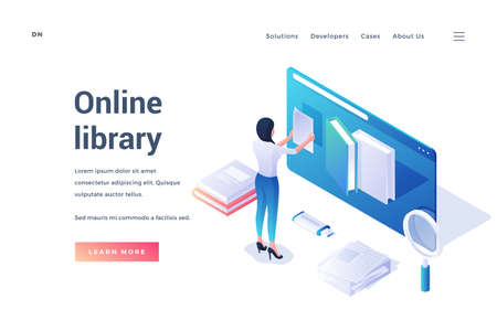 Isometric template of modern website with female using resources of online library promoting education on distance isolated on white background Ilustração