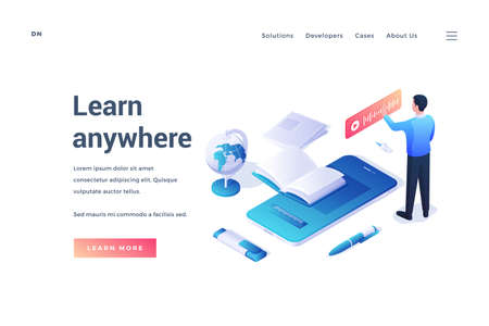 Isometric design of website banner with man using online recording app in promotion of Learn anywhere resource isolated on white background Illusztráció