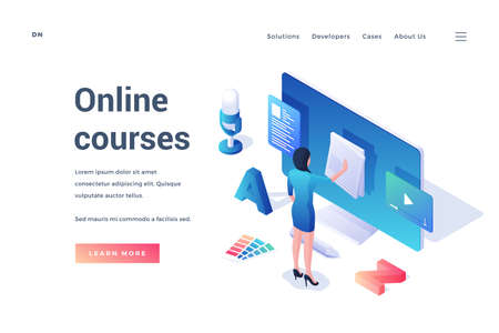 Modern vector template of website banner with isometric female student using online course resource for education isolated on white background Ilustração