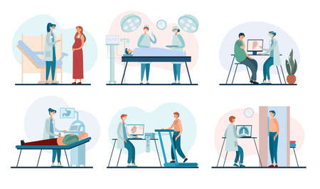 Set of vector illustrations with various medical practitioners performing examination procedures of male and female patients during work in contemporary clinic