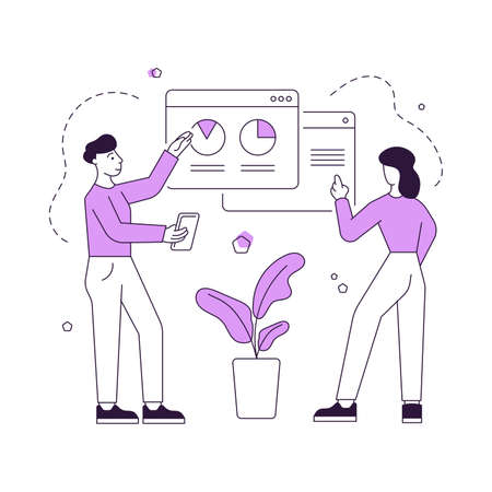 Vector illustration of contemporary man and woman standing near potted plant and analyzing graphs on website in internet while working together. Flat style illustration, thin line art design Ilustração