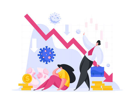 Flat style of broken woman losing investment money after outbreak of infection disease suffering with new problems of economy on white background