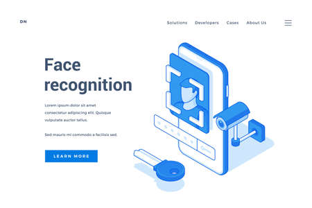 Vector illustration of contemporary smartphone with modern face recognition application and password on banner for device security service website. Isometric web banner, landing page template Stock Illustratie