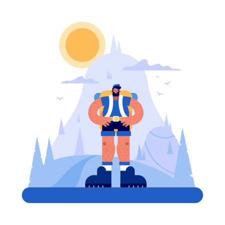 Vector illustration of confident bearded man with hands on waist standing against mountain and cloudy sky with sun in countryside Vectores