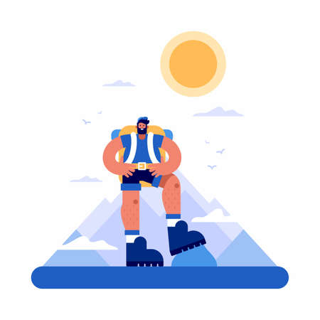 Vector illustration of confident male explorer with hands on waist conquering and exploring mountain range against cloudy sky with sun and birds Vectores
