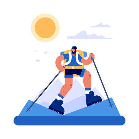 Vector illustration of man with sticks and backpack walking in mountains against sky with clouds and sun during trip through highlands