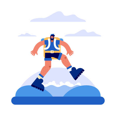 Vector illustration of man with backpack crossing rapid stream against cloudy sky while exploring and travelling through countryside in summer